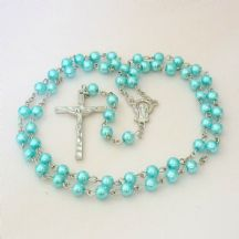 Rosary for a Child in Turquoise Pearls